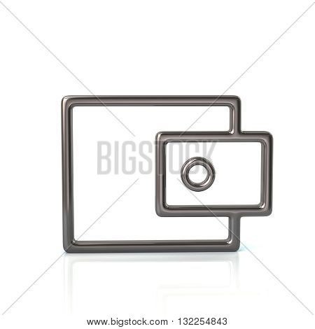 3d illustration of silver wallet icon isolated on white background
