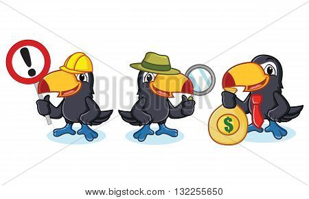 Toucan Mascot vector with money sign and magnfying glass