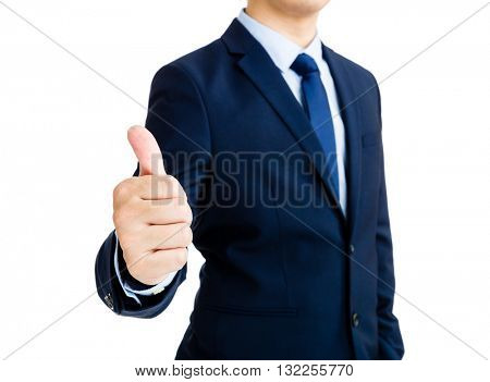 Business man show with thumb up gesture