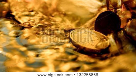 water, concept, abstract, background, fresh, wet, gold, clean, clear, wealth, silver, liquid, bubble, treasure, pure, splash, down, money, euro, splashing, under, underwater, falling, coins, indistinct, cent, in water, not sharp, through water