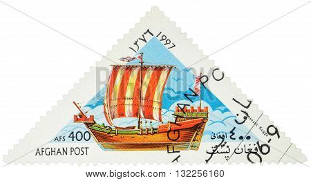 MOSCOW RUSSIA - MAY 17 2016: A stamp printed in Afghanistan shows image of ancient Hanseatic military and merchant ship Kogge series