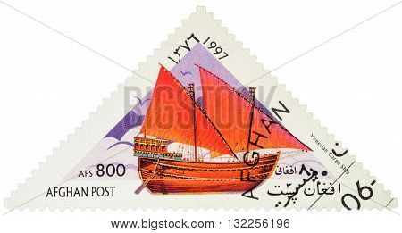 MOSCOW RUSSIA - MAY 17 2016: A stamp printed in Afghanistan shows image of ancient Venetian cargo ship series