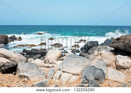 Wild north coast from Aruba island in the Caribbean Sea