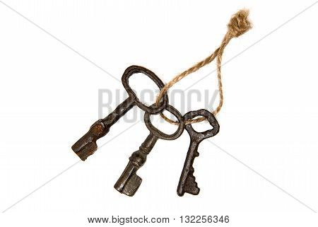 Old keys from the door tied with rope