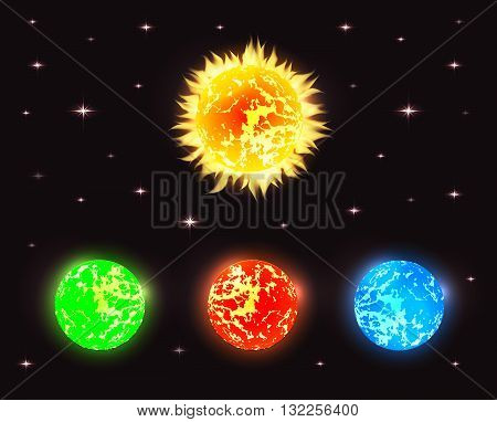 Set of planets in outer space with stars. Vector elements for your design