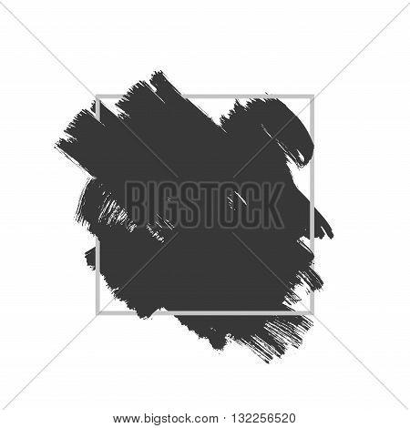 Vector splash in a frame, hand drawn painted diagonal banner inside grey square, modern grunge brushed poster
