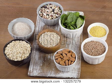 Food Sources Of Silicon On  Wooden Table. Healthy Eating