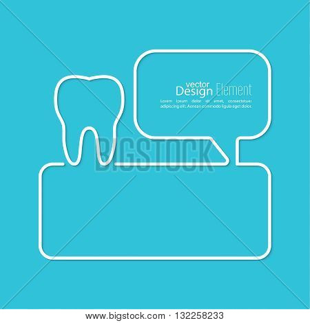 Abstract background with Speech Bubbles symbol. Outline. Tooth roots, dental