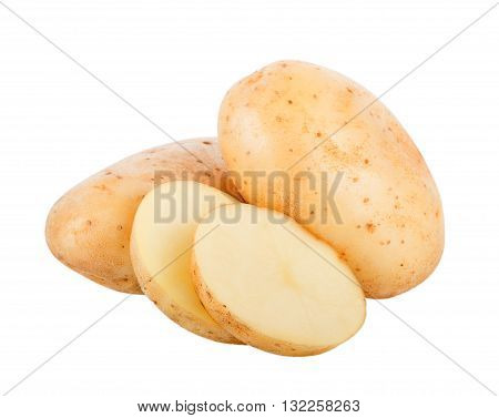 Closeup potato isolated on white background. potato
