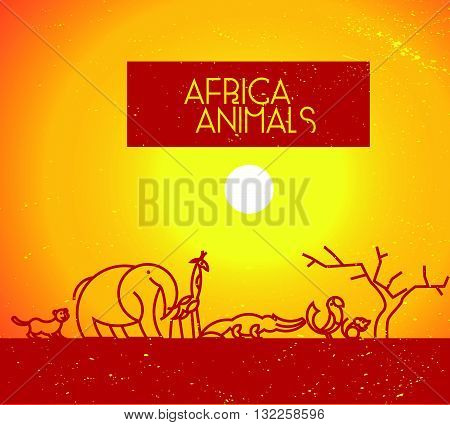 Vector flat simple minimalistic Africa animal logo. Animal icon, animal sign, symbol isolated on white background. Nature park, national zoo, pet shop logo, animal food store logo.