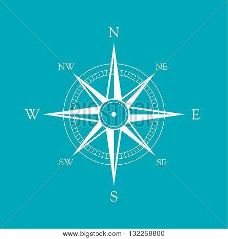 Vector icon old marine compass. Windrose and direction indicator