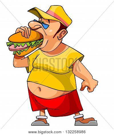 cartoon bellied man eats a big hamburger