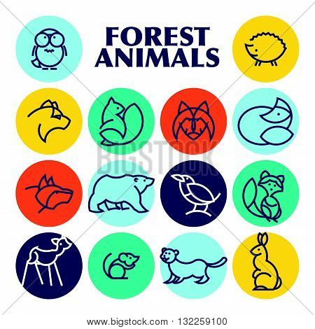 Vector flat simple minimalistic forest animal logo.