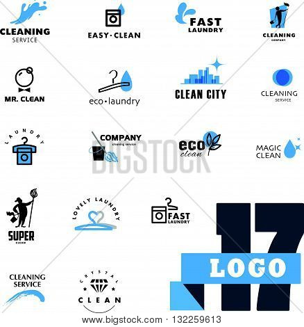 Vector logo grooup for cleaning company. Flat cleaning service insignia set. Simple cleaning logo icon isolated on white background.