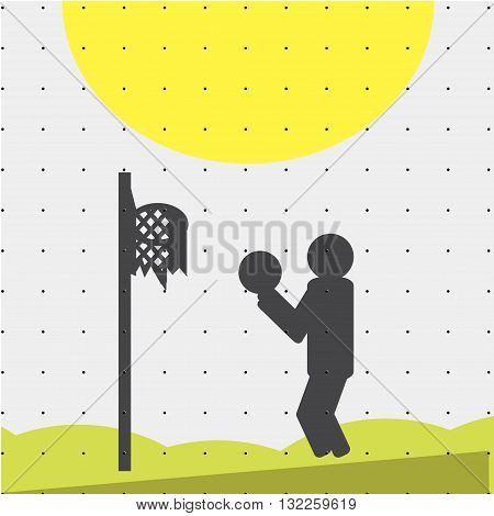 Colorful sports poster-style minimalism flat for commercial websites. Athlete playing basketball. Vector illustration
