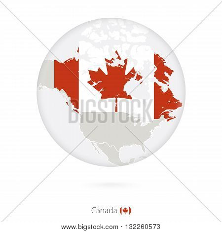 Map Of Canada And National Flag In A Circle.