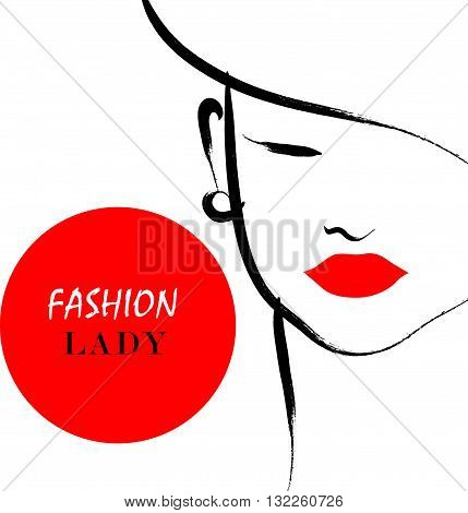 Vector hand drawn artistic flat young stylish girl in hat portrait. Fashion lady model sketch. Woman silhouette isolated on white background. Glamour, beauty illustration.