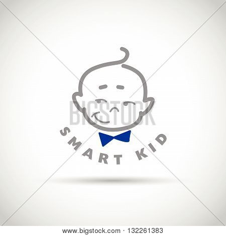 Vector simple flat kid logo. Baby, child company goods, toys shop, store. Human icon. Children simple flat icon, baby smiling character. Baby head, little gentleman with tie isolated on white background.