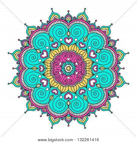 Vector hand drawn doodle mandala with hearts. Ethnic mandala with colorful ornament. Isolated. Pink white yellow green colors.
