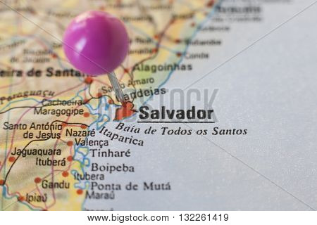Pushpin marking on Salvador de Bahia Brazil. Selective focus on city