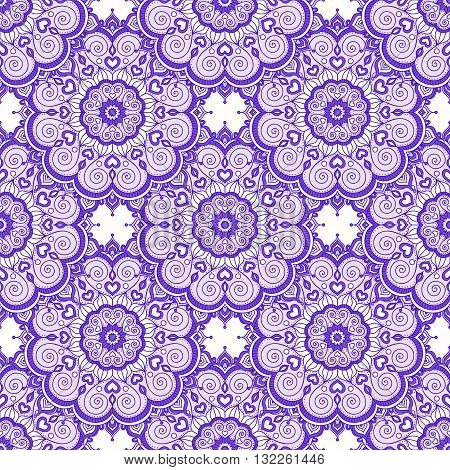 Doodle mandala with hearts. Vector seamless pattern with doodle mandala. Hand drawn mandala with ornament. Violet and white colors.