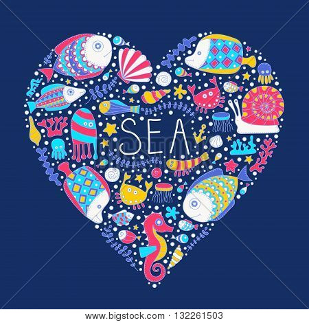Sea heart. Vector hand drawn doodle sea elements - fish sea star sea horse crab anchor bubbles. Isolated.