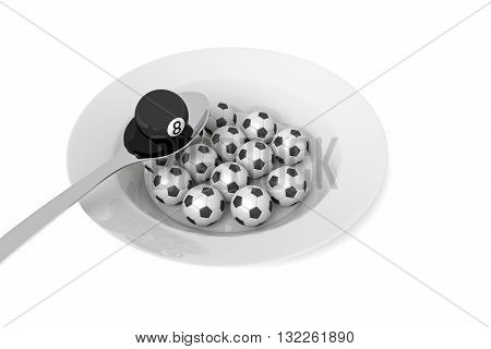 Billiards food: billiard ball and soccer balls with spoon 3d illustration