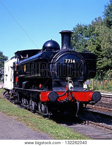 HIGHLEY, UK - JULY 18, 1993 - British Railways Class 0-6-0 pannier tank steam locomotive number 7714 Severn Valley Railway Highley Shropshire England UK Western Europe, July 18, 1993.