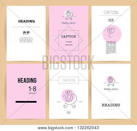 Vector simple flat kid logo. Baby, child company goods, toys shop, store, sweet shop, candy bar logo. Human icon. Children stroller icon, flower icon. Flat simple card, poster, advertising, banner collection.
