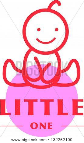 Vector simple flat kid logo. Baby, child company goods, toys shop, store. Human icon. Children icon, happy boy character silhouette figure isolated on white background. Red stroke.