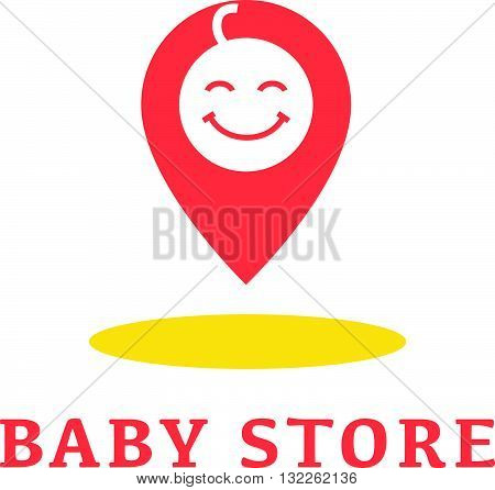 Vector simple flat kid logo. Baby, child company goods, toys shop, store. Human icon. Children icon, tag character. Pointer, placer symbol. Happy kid isolated on white background.