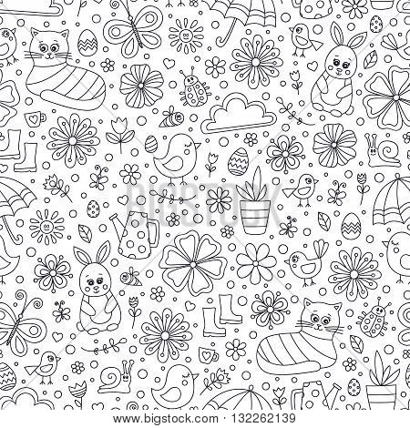 Spring doodle pattern. Seamless vector pattern with cute hand drawn spring elements - bunny cat flower bird chicken sun cloud umbrella butterfly rubber boots easter egg watering can. Outline.