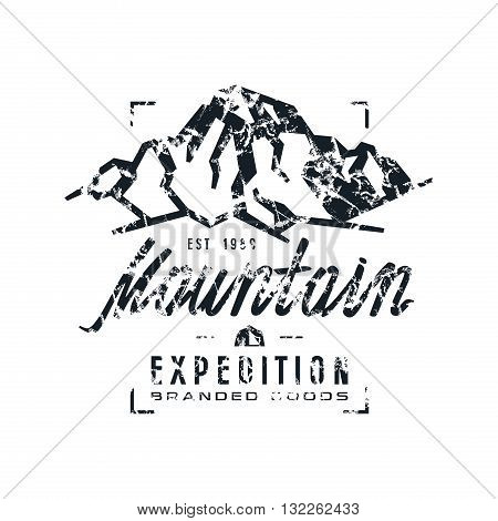 Mountain expedition label with shabby texture. Graphic design for t-shirt. Black print on white background