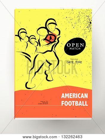 Vector hand drawn sportsman silhouette. American football player team. Flat sport advertising design template. Placard, poster, banner, leaflet, card. Human figure.