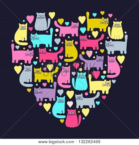 The heart of the cats. Hand drawn funny cats in love. Colorful cute cats and hearts. Pink yellow grey and green colors.