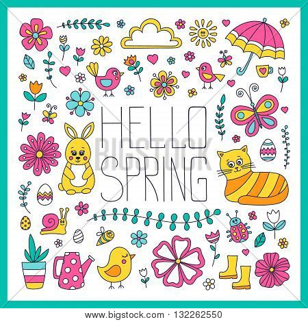 Hello spring card. Cute hand drawn doodle spring elements - bunny cat flower bird chicken sun cloud umbrella butterfly rubber boots easter egg watering can.