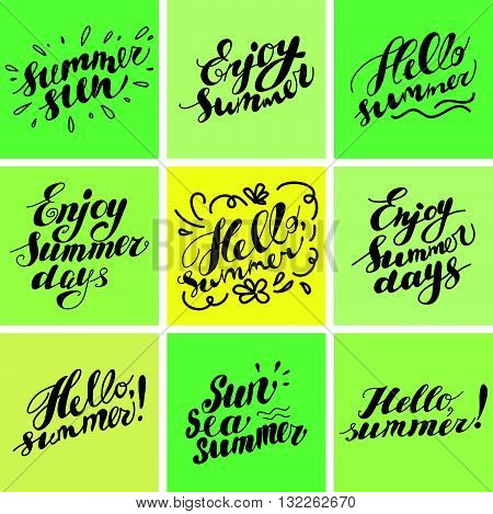 Hand drawn summer card. Letternig, text message isolated on white background. Hand written font, abc. Ink drawing. Collection of artistic summer captions.