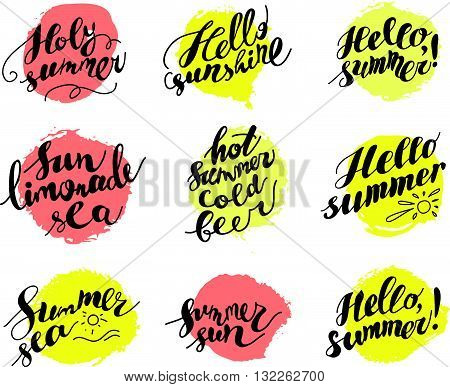Hand drawn summer card. Letternig, text message isolated on white background. Hand written font, abc. Ink drawing. Paint drops, color spots.