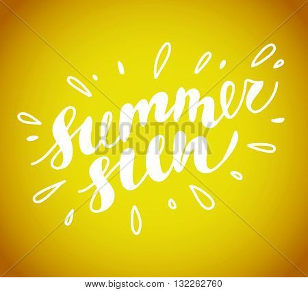 Hand drawn summer card. Letternig, text message isolated on yellow background. Hand written font, abc. Ink drawing. Summer greeting.