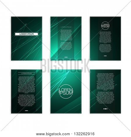 Set of Green and Black Abstract Geometric Line Modern Flyers - EPS10 Brochure Design Templates