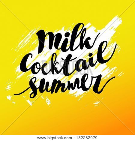 Hand drawn summer card. Letternig, text message isolated on yellow background. Hand written font, abc. Ink drawing. Brush stroke.