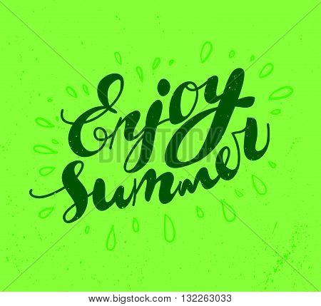 Hand drawn summer card. Letternig, text message isolated on white background. Hand written font, abc. Ink drawing. Summer grunge greeting.