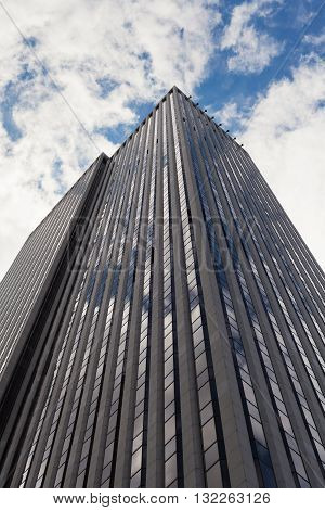 Low angle view of a skyscraper in Manhattan New York City.