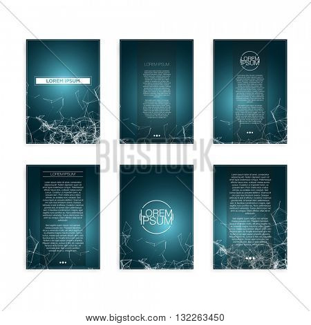 Set of Blue Abstract Mesh Geometric Modern Flyers - EPS10 Brochure Design Templates