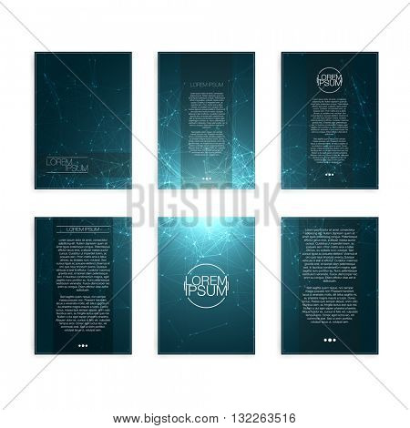Set of Blue Abstract Mesh Modern Flyers - EPS10 Brochure Design Templates