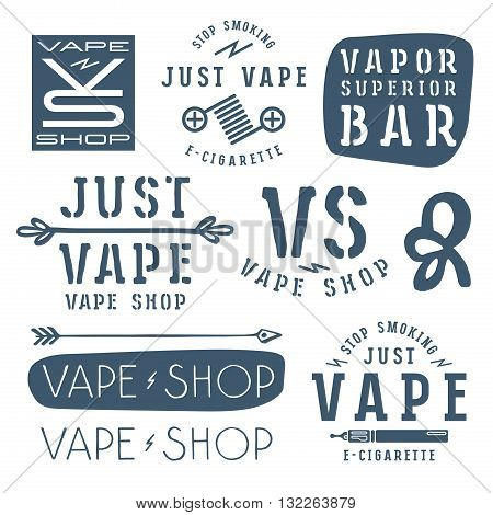 Vapor bar and vape shop labels. Isolated on white background