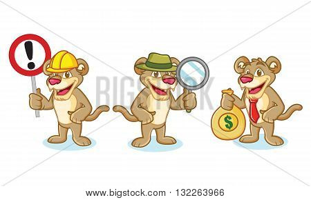 Puma Mascot Vector with sign money and magnifying
