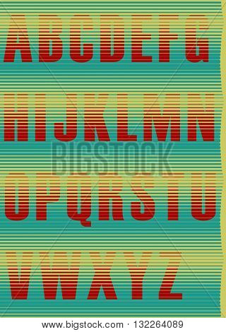 Striped unusual font. Jalousie Alphabet. Red symbols with green background. Illustration.