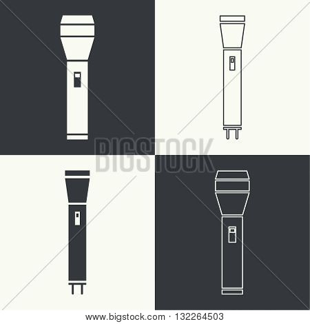 Set of vector icons hand lamp. flashlight black color. flashlight icon for web