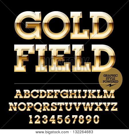 Royal golden set of alphabet letters, numbers and punctuation symbols. Vector luxury logotype with text Goldfield